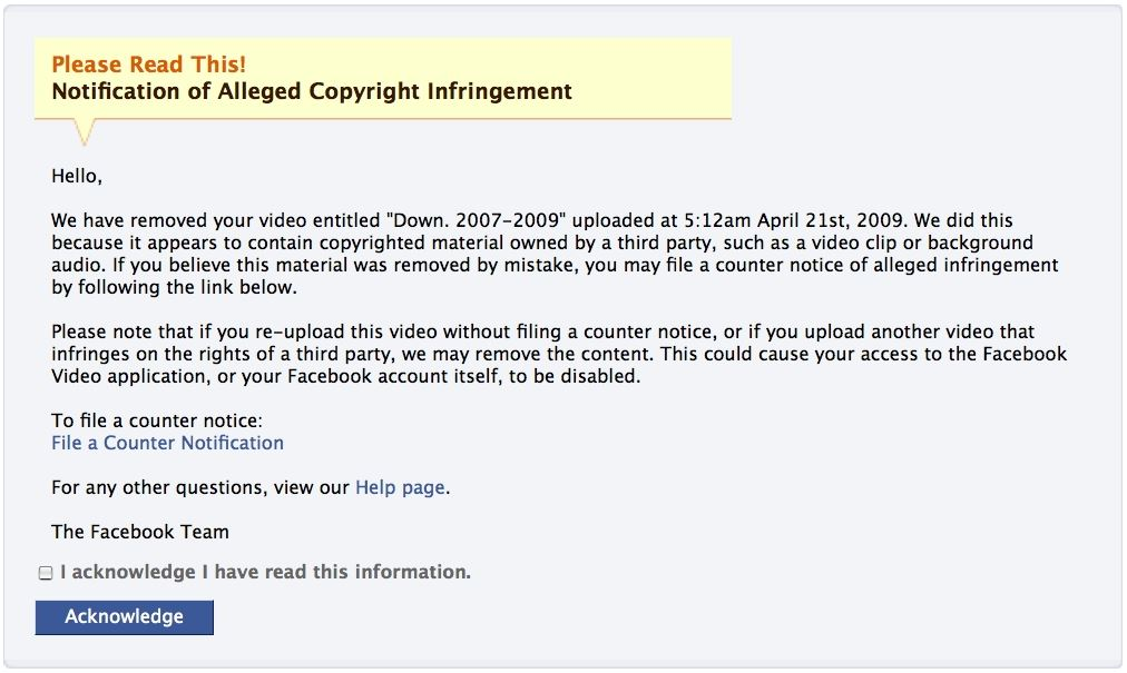 Facebook blocks users from uploading videos with copyrighted
